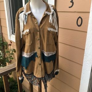Buffalo leather handmade light jacket/top w/fringe